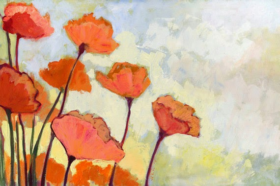 poppies in cream painting by Jennifer Lommers