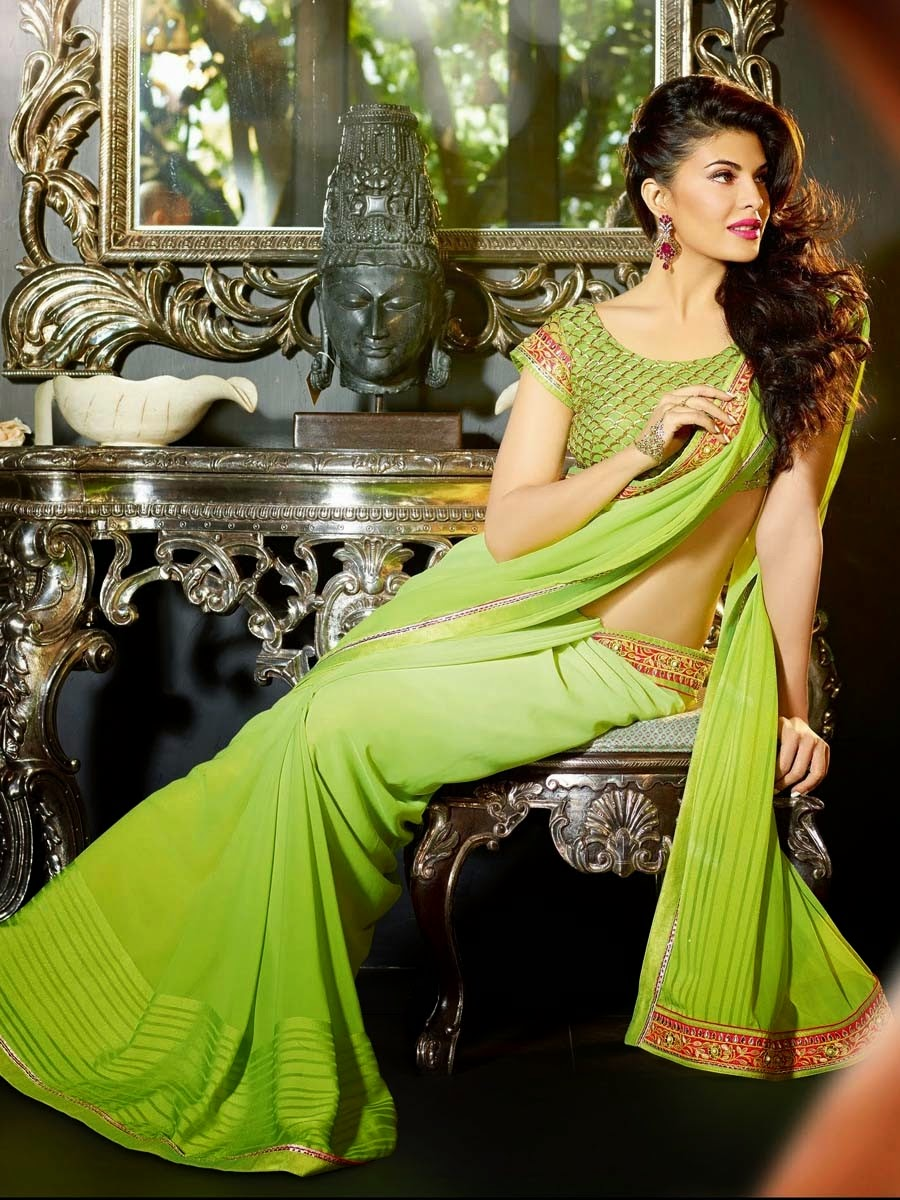 Jacqueline Fernandez In Party Wear Sarees By Lalit Khatri From