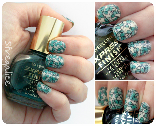 Maybelline Emerald Water sheer vintage discontinued swatch nailart