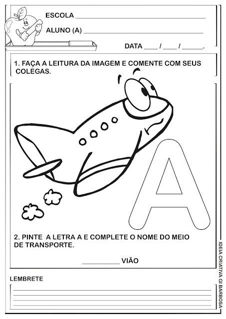 Atividade Meio de Transporte Letra A