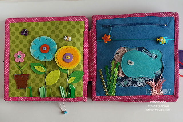 Quiet book for Olivia. Handmade busy cloth book for a girl, garden, sea page