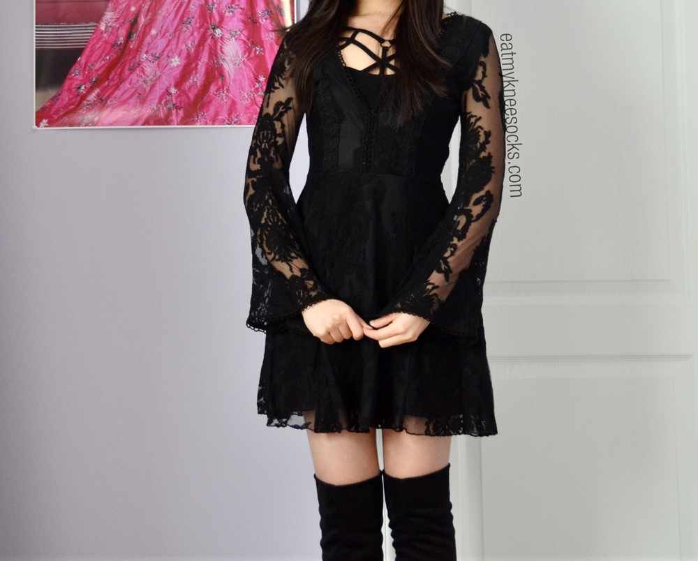 SheInside's black v-neck lace dress is the same in style as the Free People Reign Over Me dress!