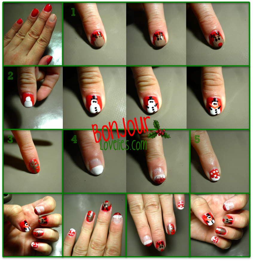 Easy christmas nail art manucure de no l facile faire video inside bonjourlovelies com - Nail art facile et rapide ...