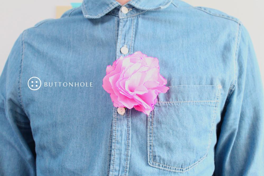 Pink buttonhole, via Shipshape Studio blog