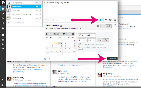 How to schedule tweets, facebook page and group updates, and AutoSchedule with Hootsuite