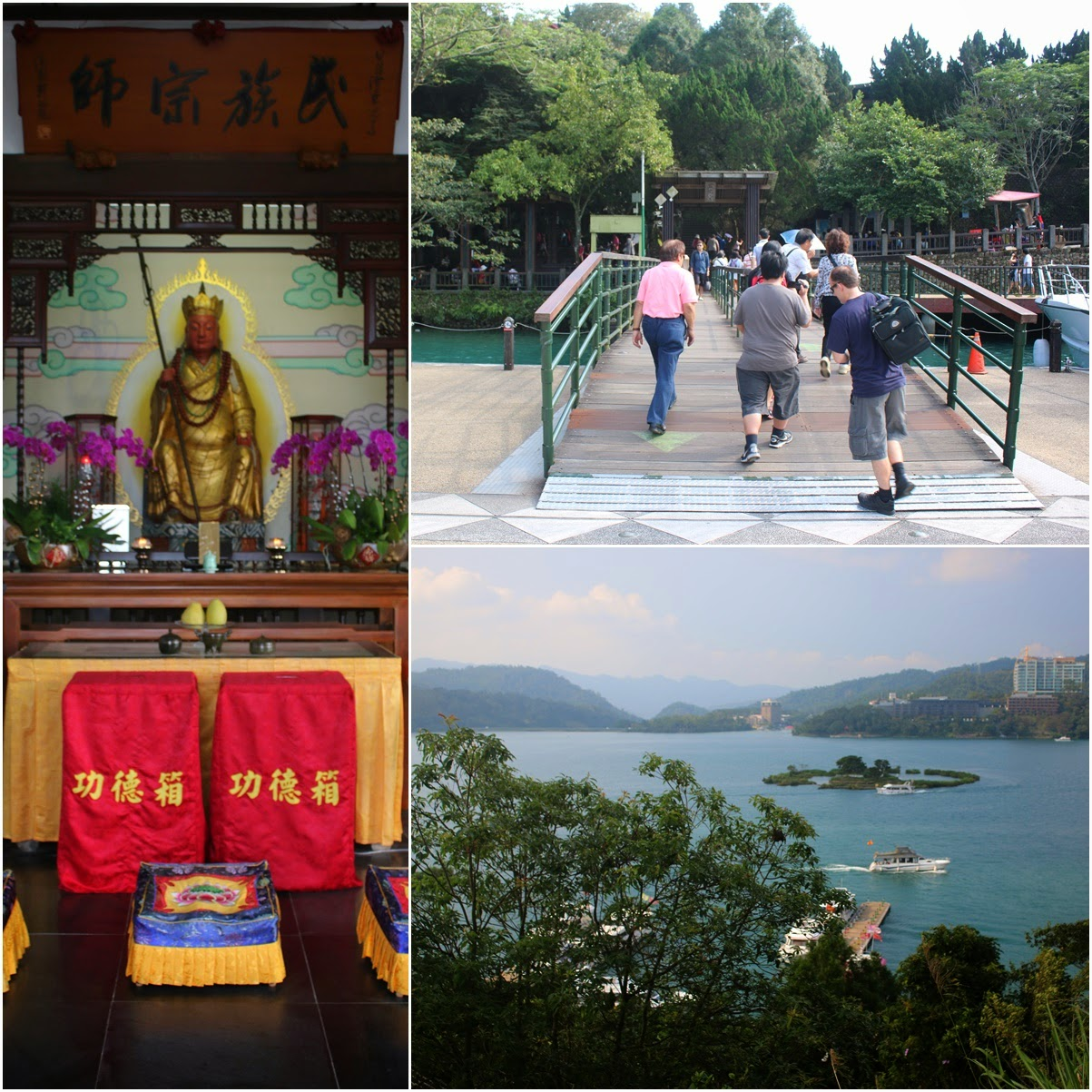 Getting down at Syuanguang Temple Pier and heading up the hill to visit Chinese Gods and take an overview photo of Sun Moon Lake and Lalu Island in Taiwan