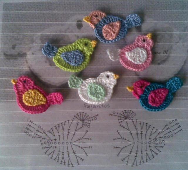 عصافير كروشيه للتزيين - crochet decorating birds