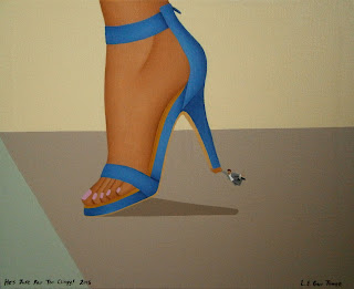 A small man hanging on to the heel of a woman's shoe.