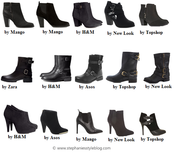 black booties, h&m, mango, asos, topshop, new look, zara
