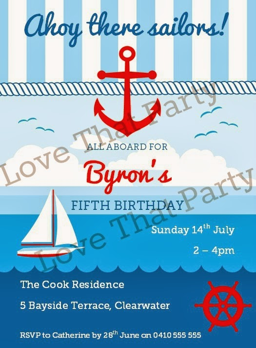 Nautical Sailing Party Printable Invitation by Love That Party. www.lovethatparty.com.au