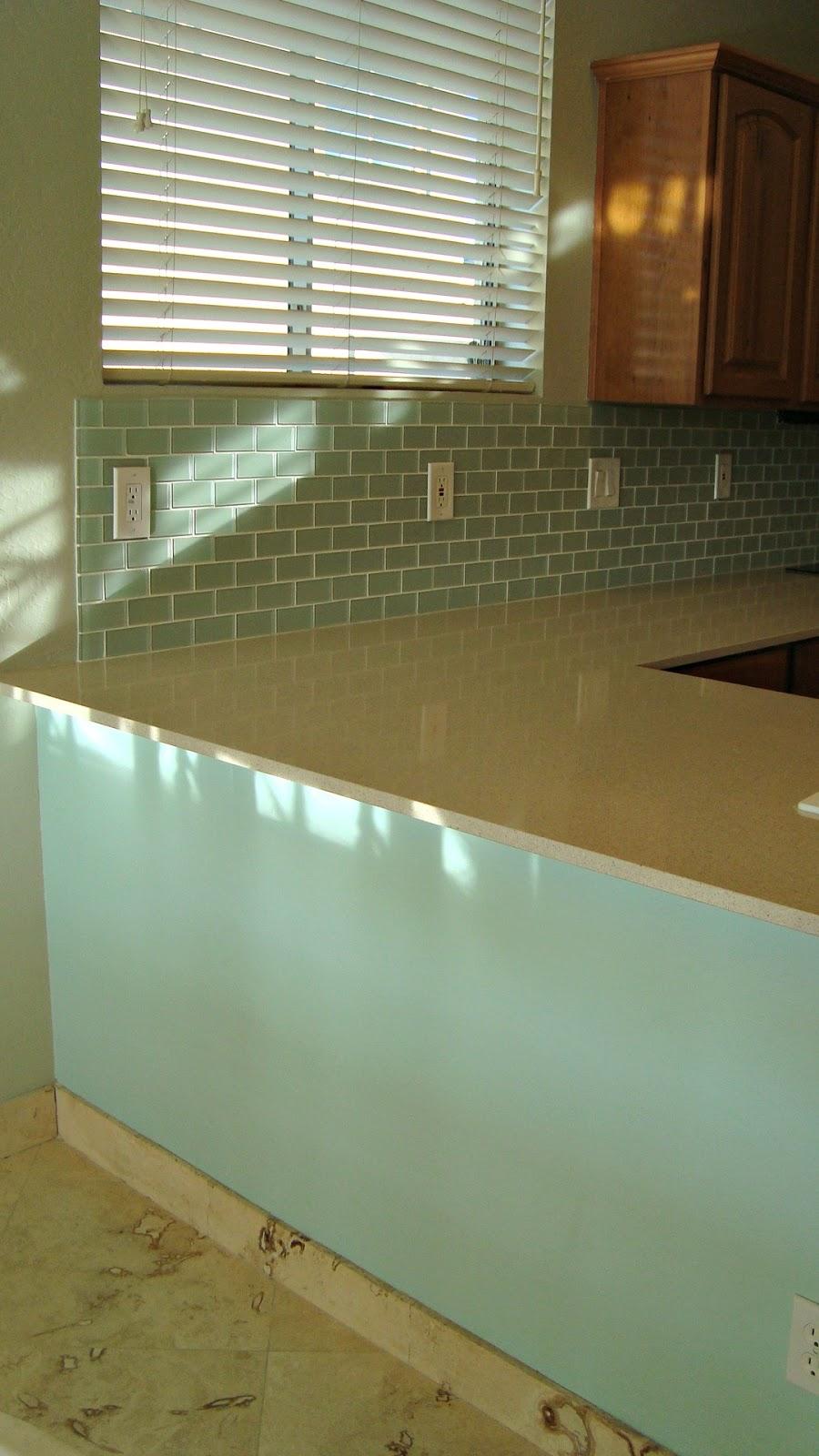 Christine 39 s favorite things glass tile backsplash for Installing glass tile with mesh back