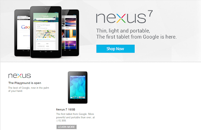 Google Nexus 7 on Google Play Store India