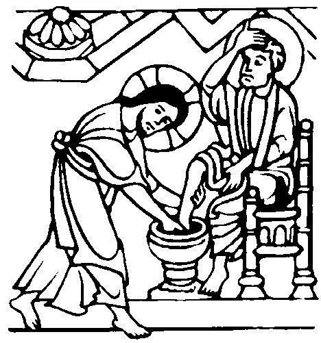 Jesús lava los pies a sus discípulos colorear