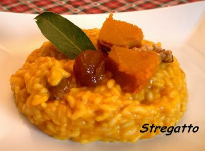 risotto con zucca e mostarda di castagne