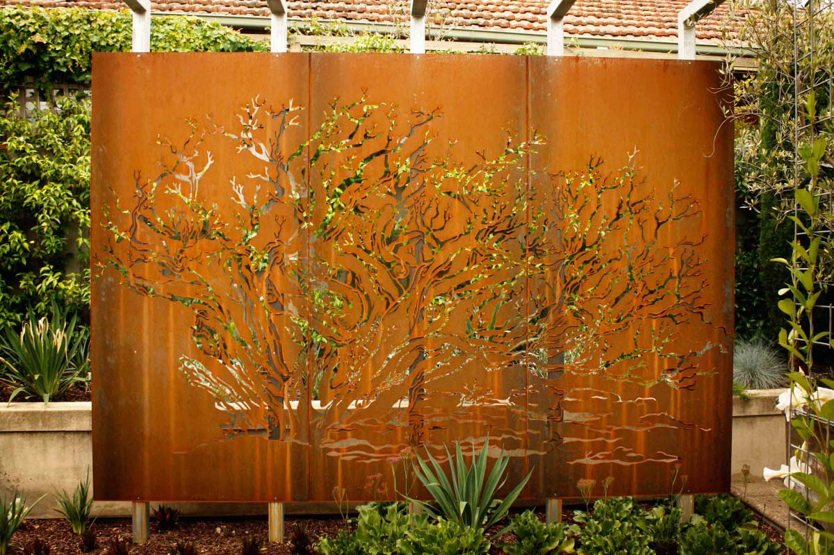 Decorative metal panels exterior for Large outdoor privacy screen
