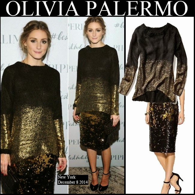 WHAT SHE WORE: Olivia Palermo in gold and black sweater with gold ...