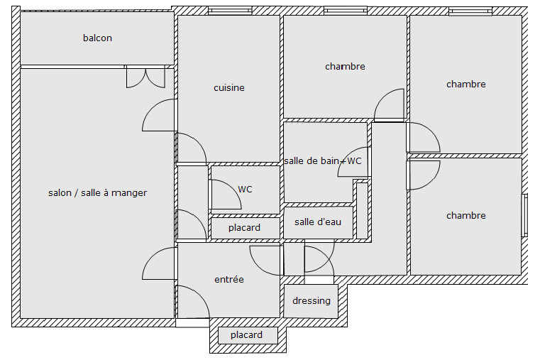 Appartement 4 pi ces l 39 ha les roses plan de l 39 appartement for Plan appartement 3 chambres