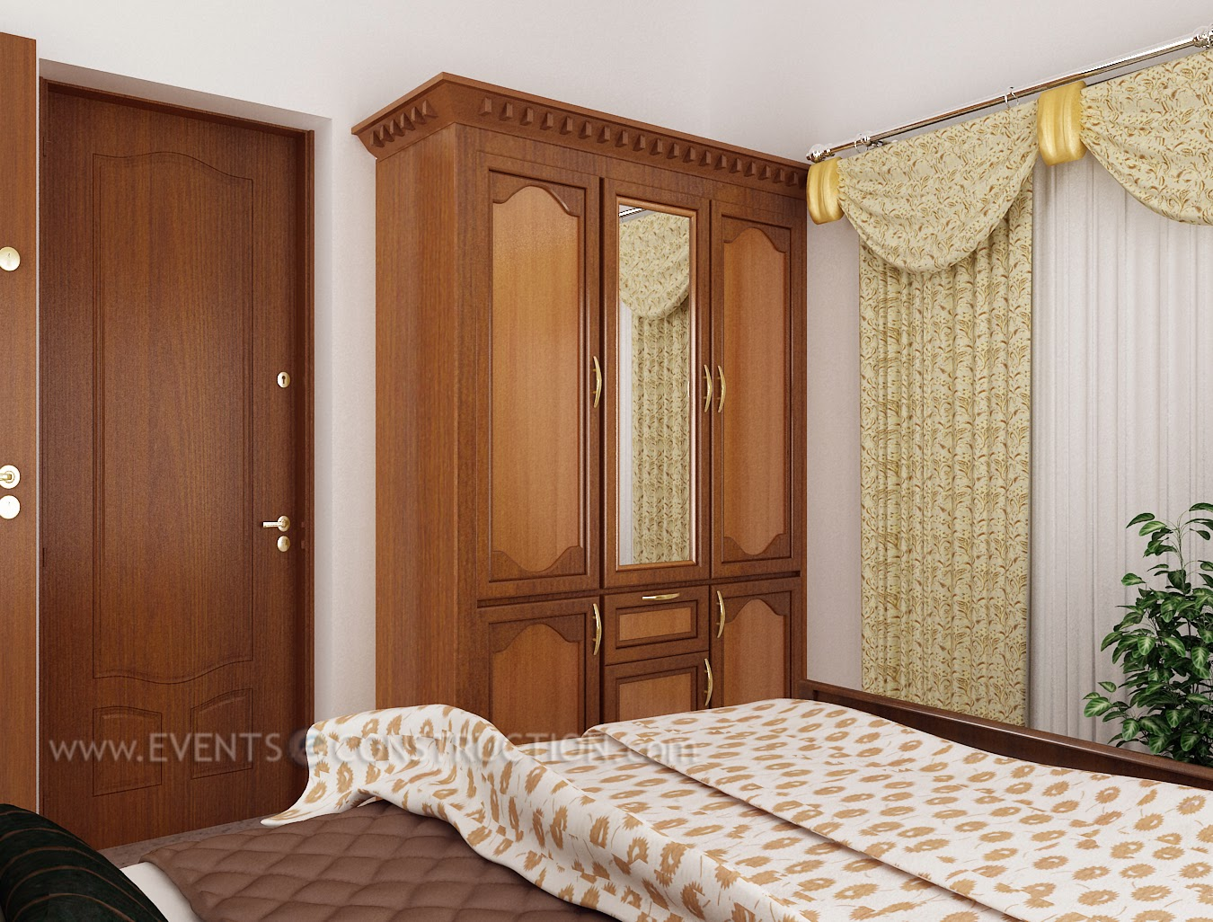 Very Impressive portraiture of Evens Construction Pvt Ltd: Wooden wardrobe in bedroom with #A27F29 color and 1350x1026 pixels