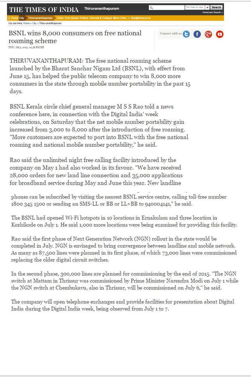 06/07/2015: Net MNP of Kerala Circle ...8000 in 15 days after free ...