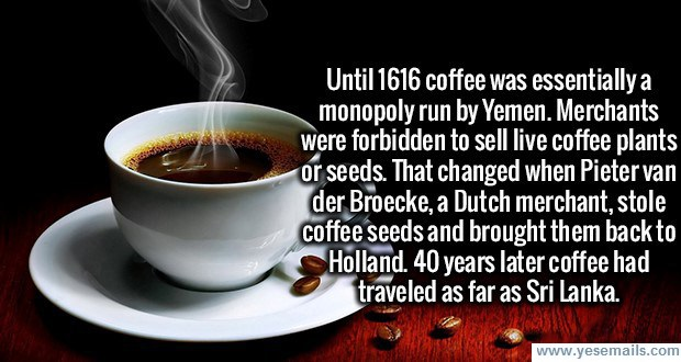 Yemen ran the coffee trade back in 17th Century.
