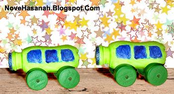 cara membuat kerajinan tangan dari botol plastik berbentuk mobil-mobilan untuk mainan anak-anak