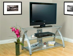 Calico Designs Silver and Clear Glass Futura TV Stand