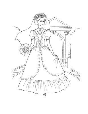 Wedding Dresses Princess Coloring Pages