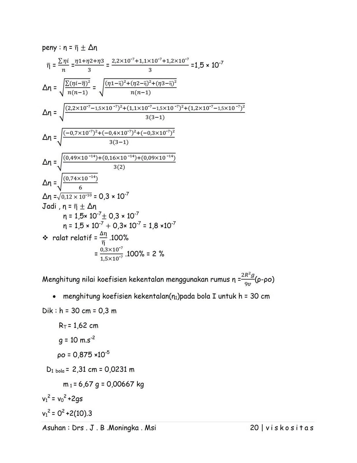 Fisika Itu Menyenangkan Contoh Laporan Hasil Raktikum Viskositas Fisika Dasar I