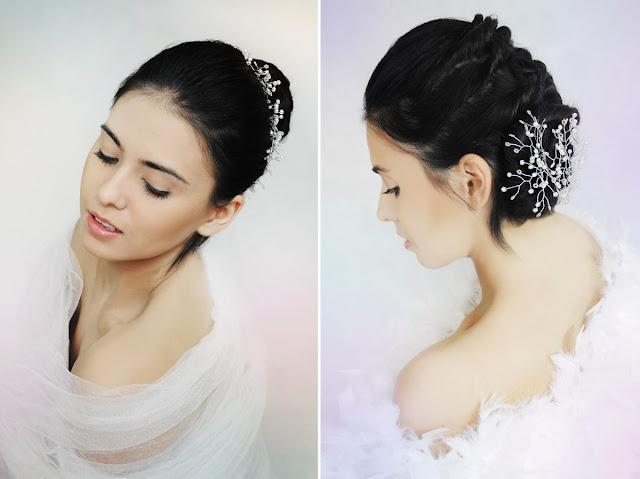 Eleganckie fryzury ślubne ozdobione gałązkami ślubnymi Airy.