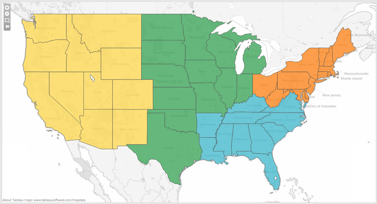 Tips For Creating Different Map Styles In Tableau Tableau - Us map with different regions