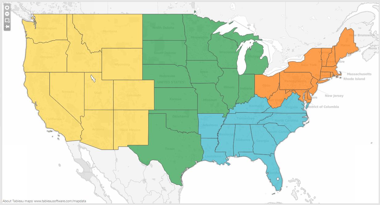 Us Map  Regions  AAAJ - Us map 4 regions