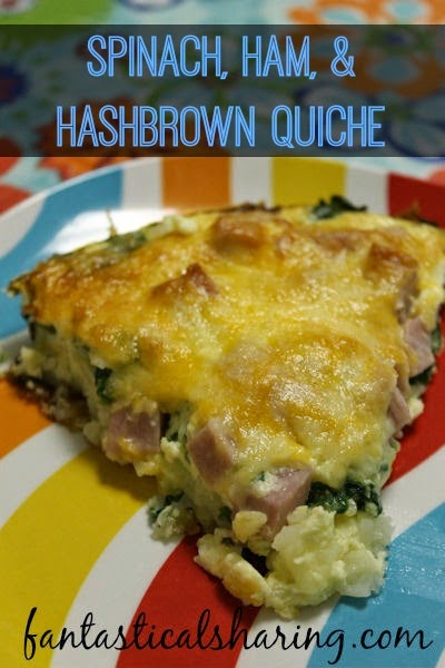 Spinach, Ham, & Hashbrown Quiche | Enjoy a cup of coffee while this simple-to-make quiche bakes in the oven. #breakfast
