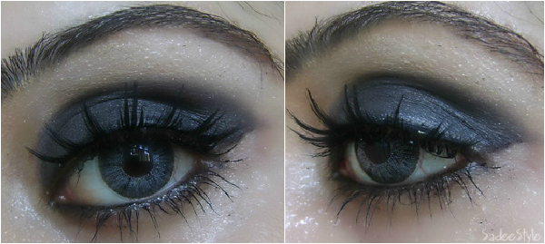 Black Smokey eye look with big eye lashes 
