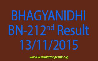 BHAGYANIDHI BN 212 Lottery Result 13-11-2015