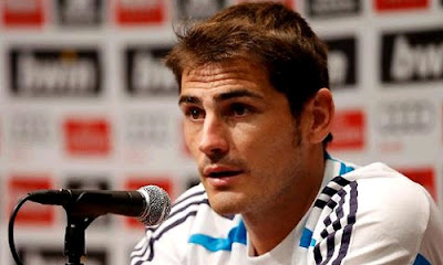 Iker Casillas attending a press conference at UCLA