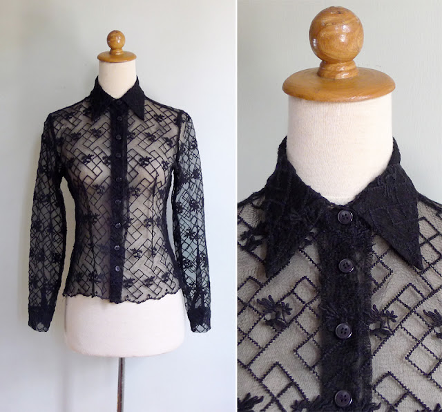 vintage black embroidered sheer lace shirt