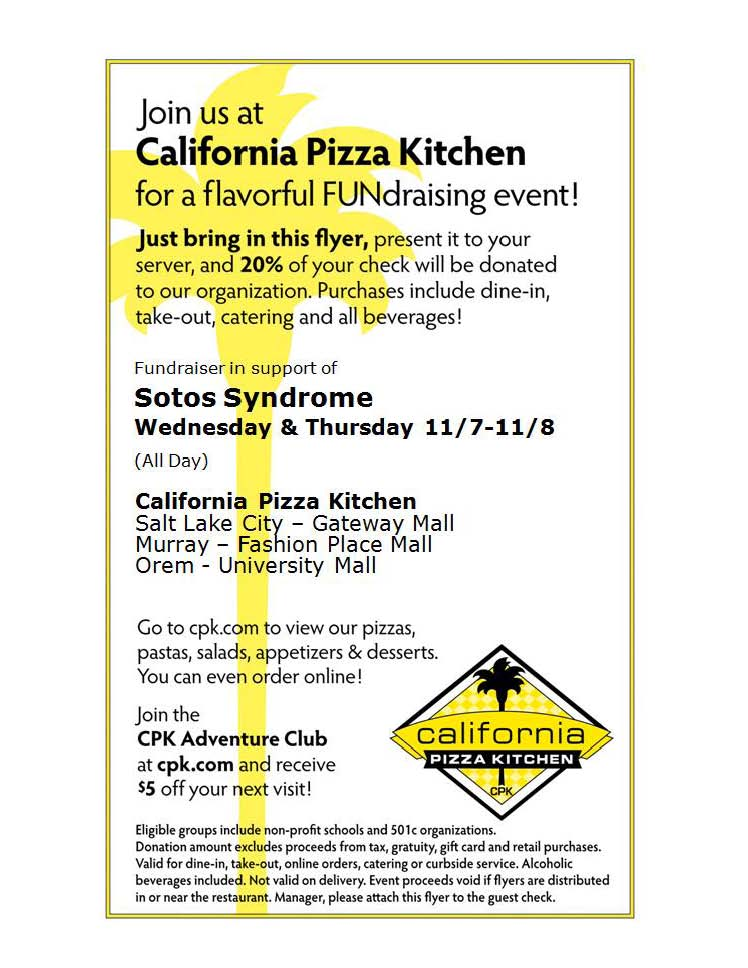 Sotos Syndrome FUNdraiser At California Pizza Kitchen