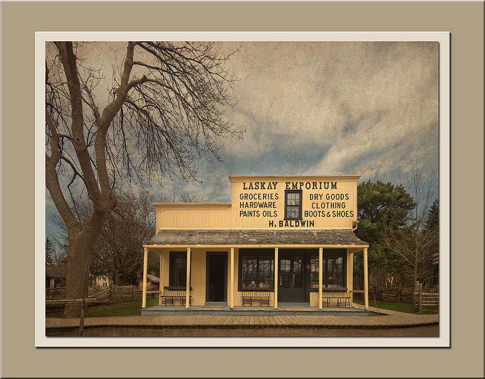 A view of the Laskay Emporium with wide angle lens at Black Creek Pioneer Village.  Holly Cawfield Photography