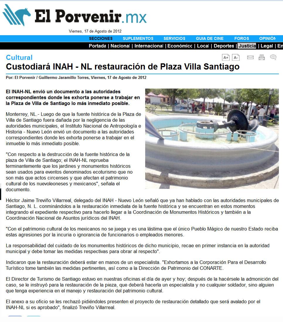 Monterrey m xico fuente en plaza de santiago n l for Concierto hoy en santiago