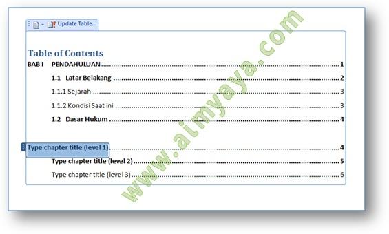 Gambar:  Contoh Cara membuat Daftar isi  (Table of Content) dengan menggunakan Tabel Manual di Microsoft Word
