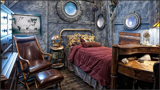 Decorating theme bedrooms maries manor steampunk for Steampunk bed