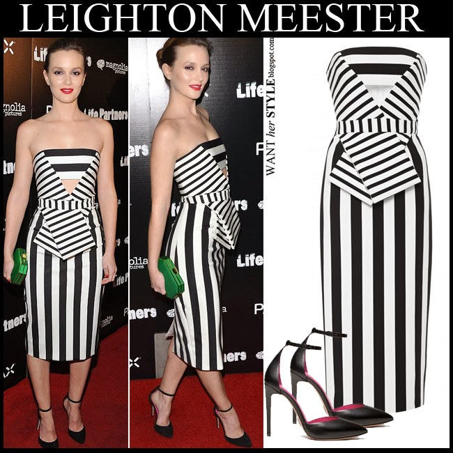WHAT SHE WORE: Leighton Meester in striped black and white ...