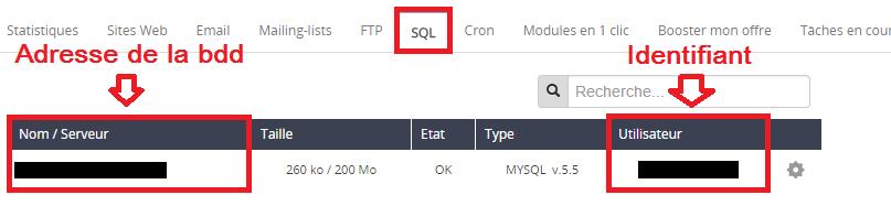 Récupérer l'adresse de la base de données sur OVH