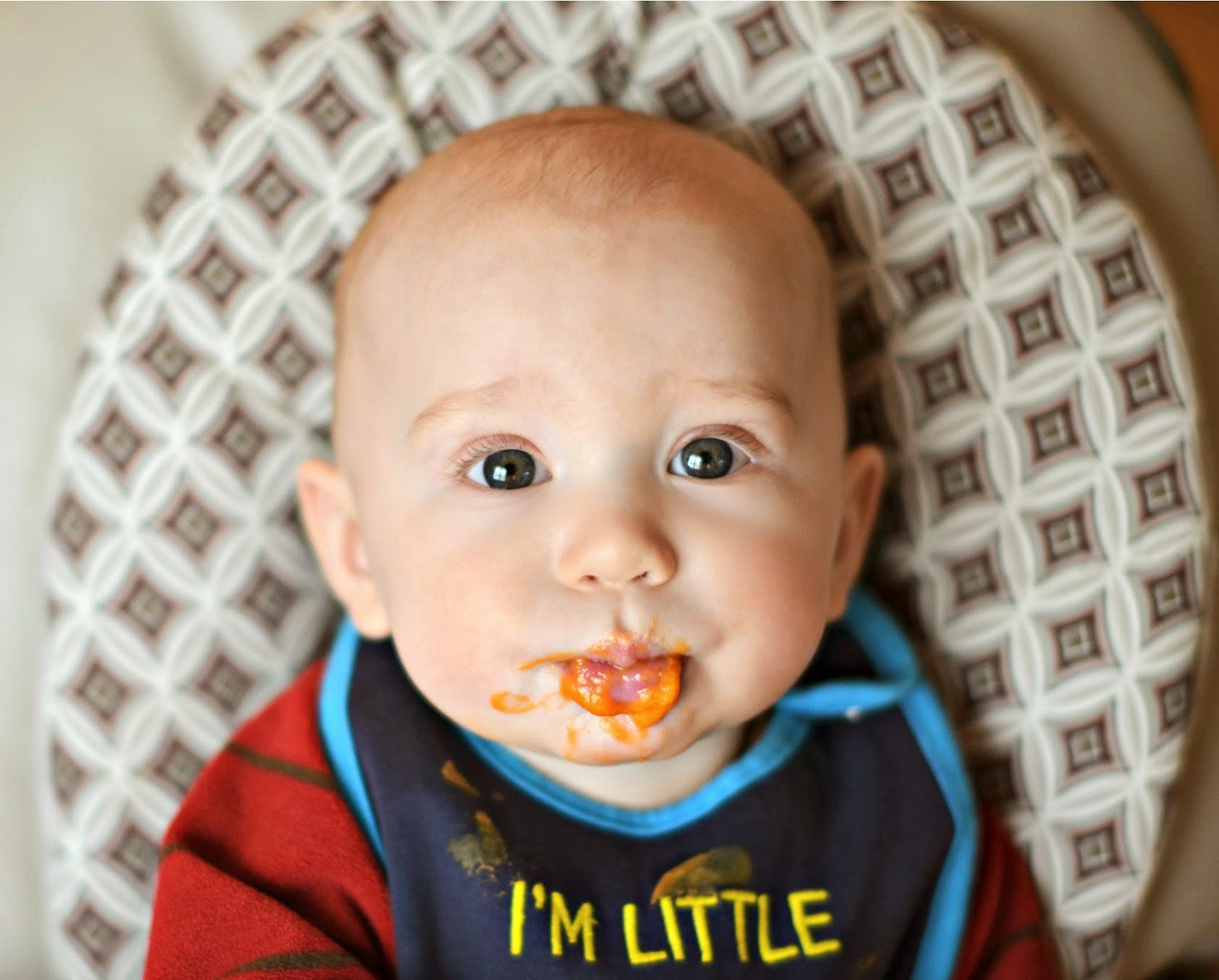 baby's first food sweet potatoes 6 months cute messy face picture