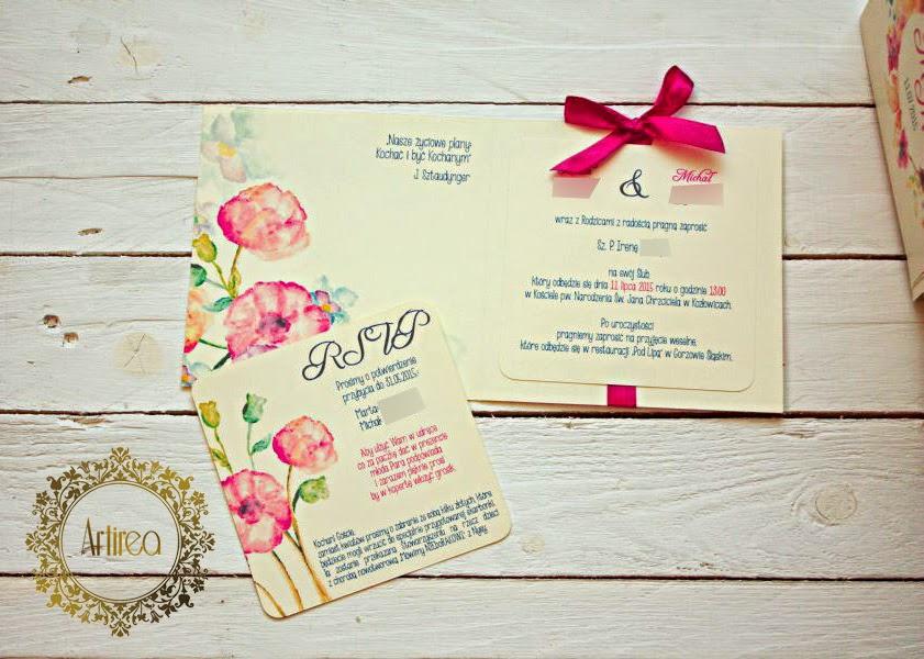 Zaproszenia ślubne fuksja kwiaty