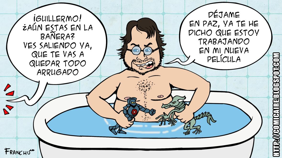Caricatura de Guillermo del Toro director de la pelicula de ciencia ficción PACIFIC RIM