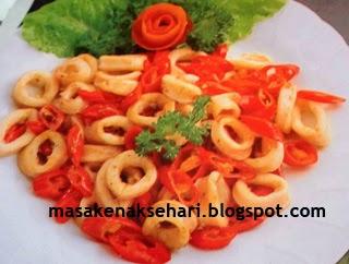 Resep tumis cumi masak cabe merah