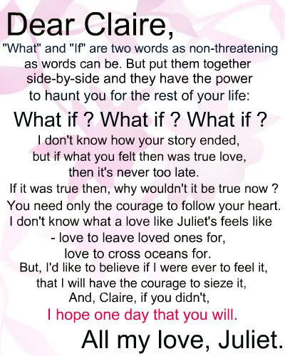4 Letter Quotes About Love : Letters To Juliet Quotes. QuotesGram