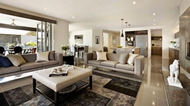 Salas modernas decoradas en color beige colores en casa for Salas grandes decoracion