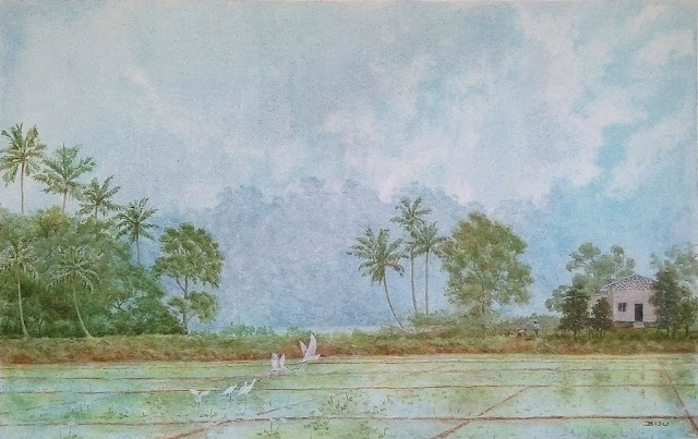 Kuttanad Landscape Painting: Acrylic on canvas